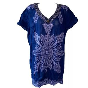 Style & Co. Woman Blue Purple OS Beaded Tunic Top